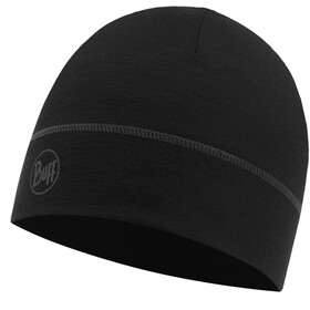 Buff Lightweight Merino Wool 1 Layer Hat Solid Black